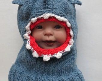 Baby Shark Balaclava Child Winter Hat Toddler Warm Hat