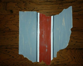 Distressed Ohio State Wall Art. OSU Wood Sign. Ohio State Buckeyes Wall Art. Part 89