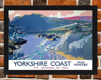 Framed Yorkshire Coast Near Whitby 'Its Quicker By Rail' British Railways Travel Poster A3 Size Mounted In Black Or White Frame