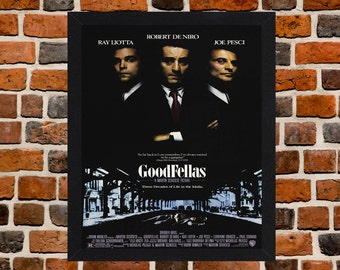 Framed Goodfellas Robert De Niro & Joe Pesci Cult Mafia Movie / Film Poster A3 Size Mounted In Black Or White Frame