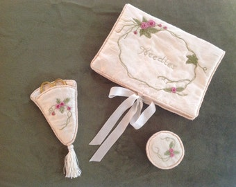 Cream silk three piece needle case with sissors and tape measure