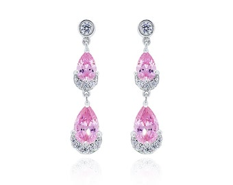 925 Sterling Silver Pink CZ Drop Earring 3.29 CT.TW (S77)