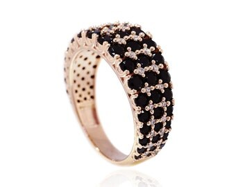 925 Sterling Silver Black CZ Rose Gold Statement Ring 2.49 CT.TW (S143)