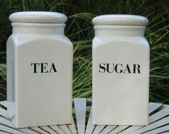 Ceramic Canisters Tea and Sugar Canisters
