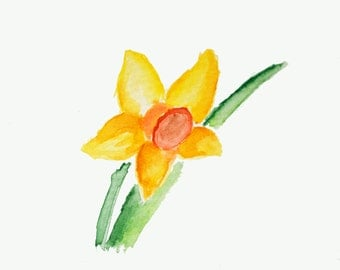 Water Color Art Print - Daffodil (March) - Floral