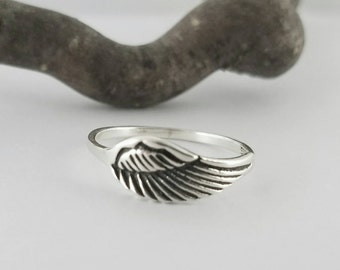 Wing Ring~Sterling Silver Angel Wing Ring~Angel Ring~Angel Jewelry~925 Feather Jewelry~Promise Ring
