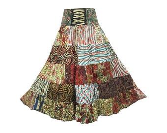 Boho Hippie Cotton Patchwork 5-Tier Broomstick Skirt  (M0758)