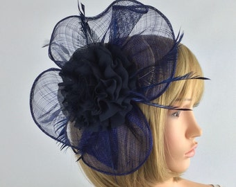 Navy Blue fascinator, dark blue wedding fascinator on comb with flower and feathers. Bride, occassion, formal wear hair accessory, races