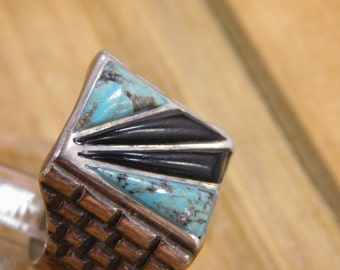 Masculine Turquoise Onyx Sterling Silver Ring