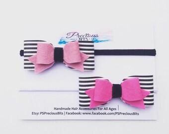 Humbug Bow Headband or Hair Clip - Black & White Bow Headband, Girls headband, Newborn Headband, Stripes Bow Headband, Halloween headband