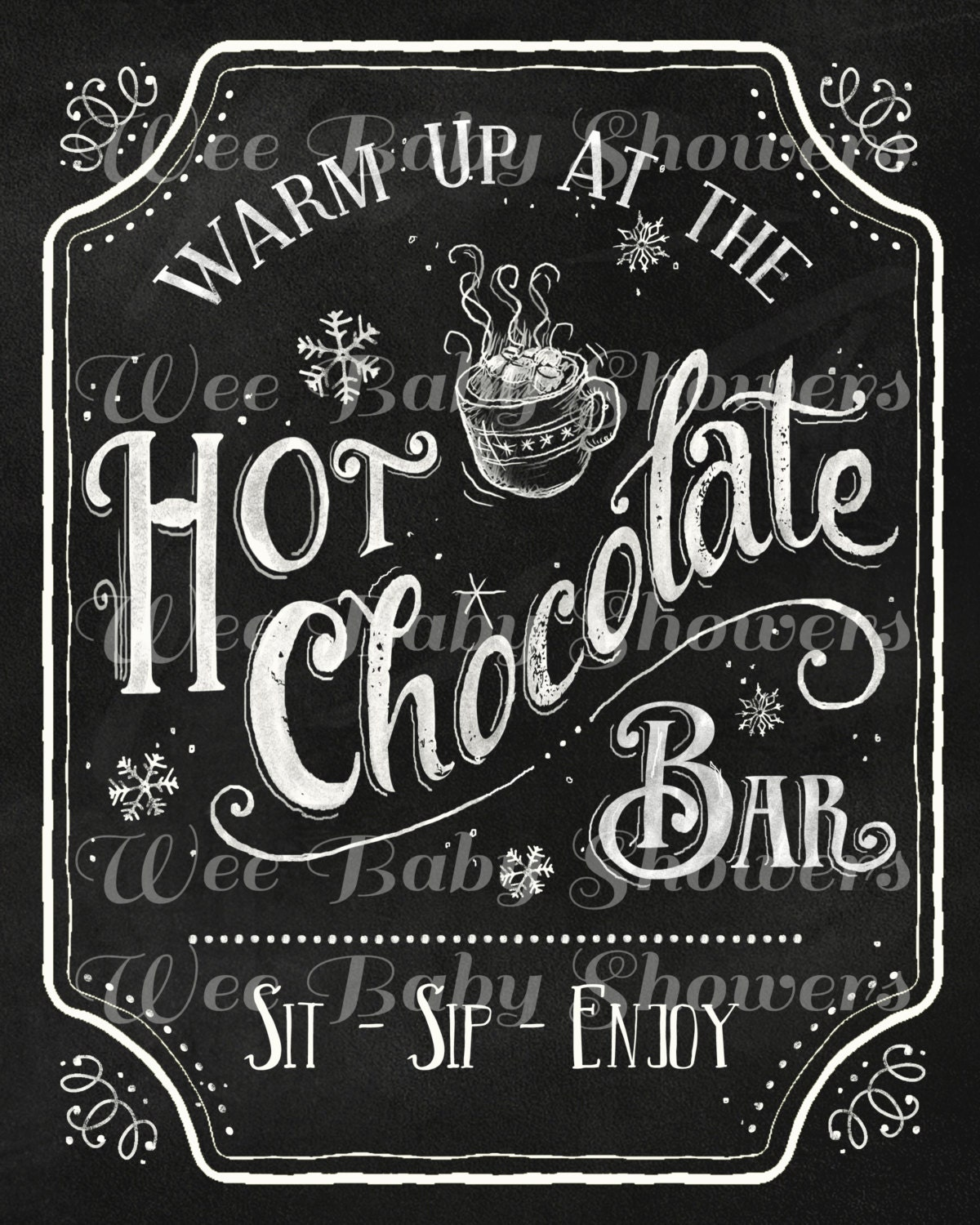 Hot Cocoa Bar Sign And Cup Labels Hand Drawn Chalkboard