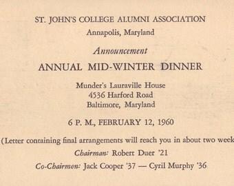 Vintage Postcard ~ St John's College Alumni Association, Annapolis Maryland ~ Annual Mid Winter Dinner 1960 ~ alumni gift ~ vintage epherma