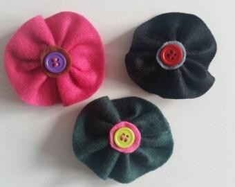 Handmade Felt Flower hair barrette - hair clip - flower hair clip - hair accessories - gift - barrette - hair barrette