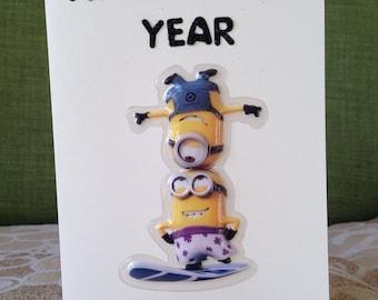 Handmade Minions New Year Card