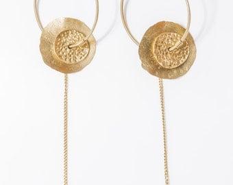 Gold hammered disk earrings -  9k Gold