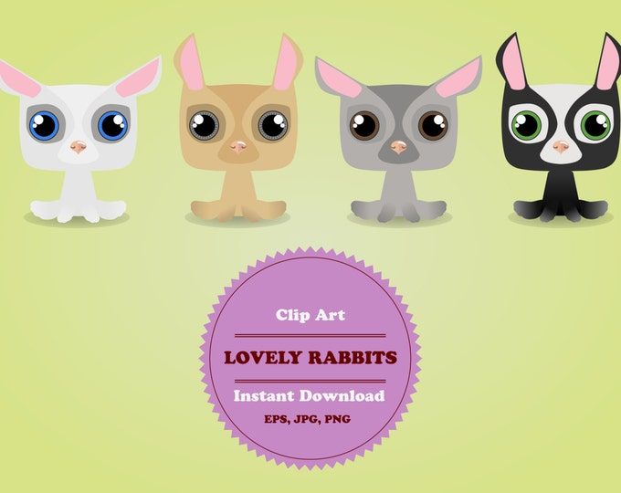 Pets Сlipart, Animal Clipart, Rabbits Сlipart, Clipart Set, Sticker, Scrapbooking, Instant Download, JPG, PNG, EPS