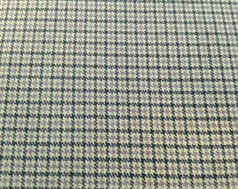 SALE Plaid Suiting Fabric with Stretch, Black Tan and Mauve, by the yard