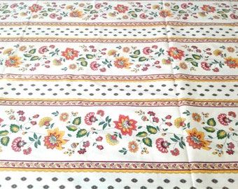 Vintage Floral Stripe Fabric for Kitchen towels, napkins, table runner etc. Cream color vertical stripe material by the yard