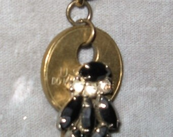 Old Key Upscaled Necklace With Working Clock Watch, Hanging Key With Black & Clear Rhinestones.
