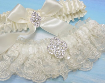 Stunning beaded ivory wedding garter set,  Wedding garter set,  Garters