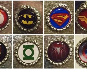 Superhero Bottlecap Necklace, keychain, zipper pull, ID badge clip, earrings, or magnet