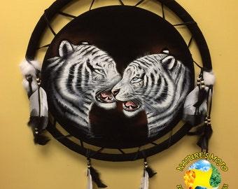 White Tiger Oil Velvet Mandala Shield