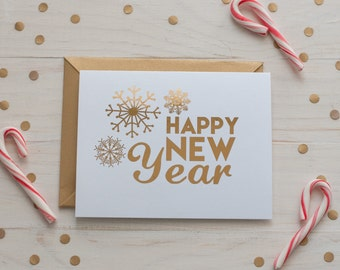Happy New Year Card, Gold Foil - Holiday Card - winter snowflakes - New Year Card - Seasonal - Gold snowflakes