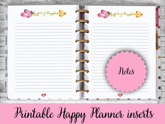 Happy Planner Printable Pages Notes Arrow Heart Happy