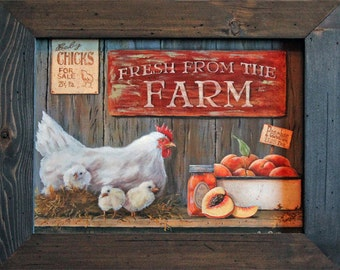 """Farm Decor 15x19 Chicken Decor Rooster Decor Framed Art Print """"Fresh From The Farm"""" Primitive Country Decor w/ Solid Wood Frame"""