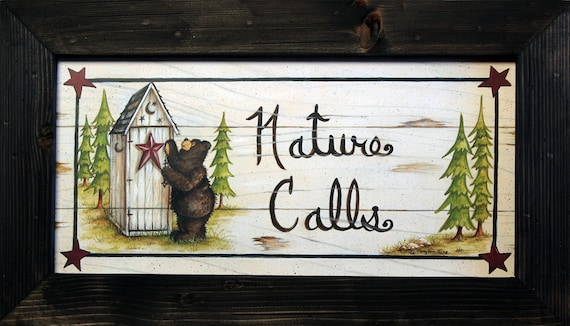 Country bathroom decor nature calls black by for Bathroom decor nature