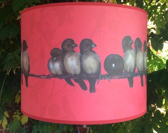 Finch design lampshade - red