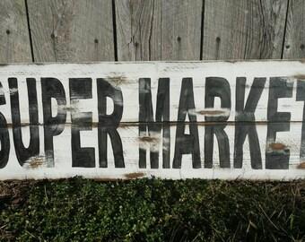 Supermarket Rustic Sign, Wood Wall Art Farmhouse Style Farmhouse Kitchen Sign