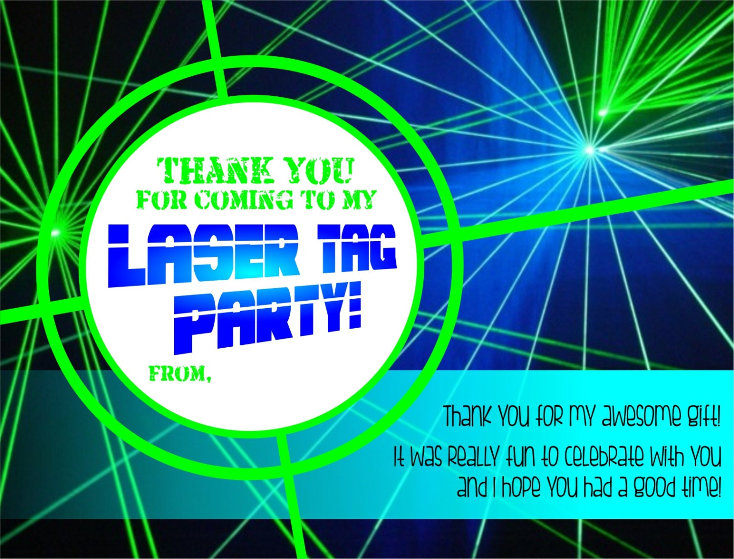 Laser Tag coordinating thank you card
