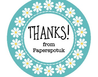 Daisy ring Thank you stickers customised personalised for your business