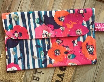 Beautiful Pink/Orange Flowers & Navy/Teal Stripes Diaper Clutch