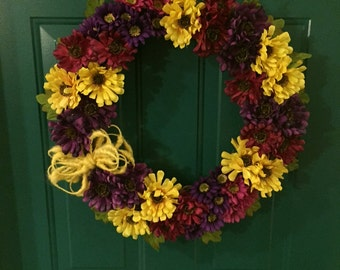 Yellow, Purple and Maroon Flower Grapevine Wreath