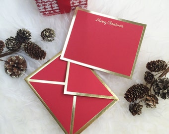 Merry Christmas Red Letterpress Note Card with Gold Foil Borders Envelope
