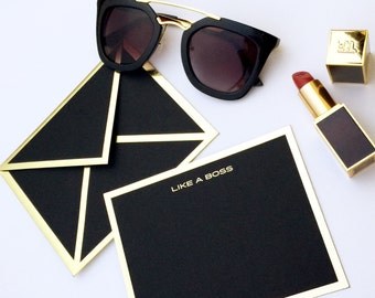 Like a Boss Black Stationery Card with Metallic Gold Bordered Envelope