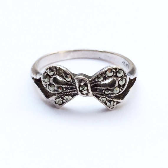vintage silver and marcasite bow ring by hardingandgriffin