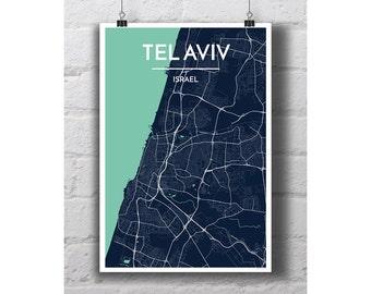 Tel Aviv, Israel - City Map Print
