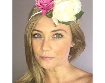 Pink and white flower crown
