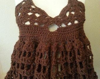Brown knit halter top