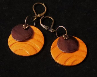 Leather Jewellery  Leather Dangle Leather Earrings from Embossed Leather with Mother of Pearl Circle and Antique Copper Components