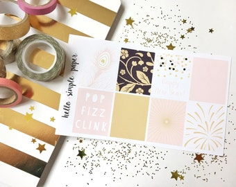 Pink New Years Full Box Planner Stickers