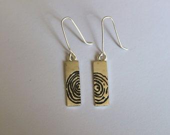 Tree-rings. Solid Silver Etched Drop Earrings, Tree Rings Pattern