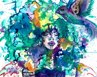 Movement Watercolor Freestyle Abstract Woman