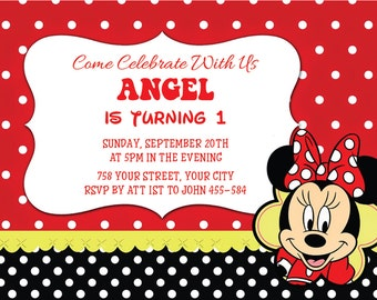 minnie mouse party invitation, minnie mouse decorations, Minnie Mouse Party, minnie mouse birthday invitation, Minnie Mouse Invites | No.06