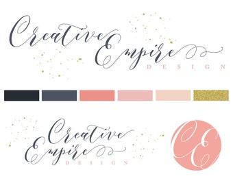 Premade Logo, Custom Logo Design, Customizable Logo and Brand Design, Creative Feminine Logo, Wedding Logo, Vector, Trendy, Elegant, Sparkle