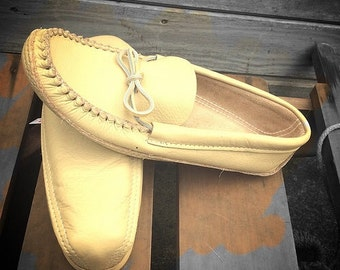 Leather, Native Made Moccasins with a Spongey Leather Sole