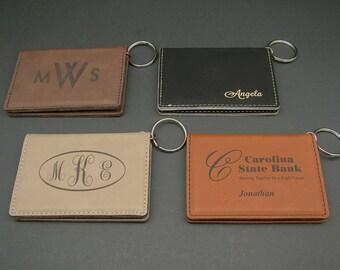 Personalized Leatherette Key Chain / ID Holder / Wallet - Custom Logo